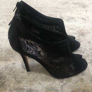 Glint lace peep toe booties - never worn!